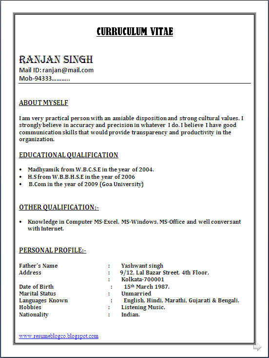 resume format for freshers in ms word Parlobuenacocinaco