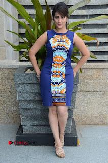 Actress Anchor Manjusha Pictures in Blue Short Dress at Jaguar Movie Success Meet .COM 0143.jpg