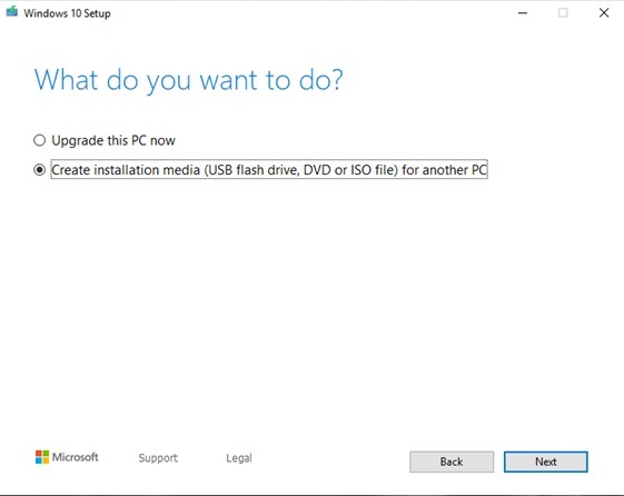 Create installation media (USB flash drive, DVD, or ISO file) for another PC