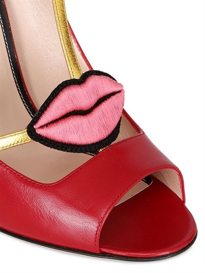 Red High Heel Shoes wiwth t-strap and lip shaped embellishment