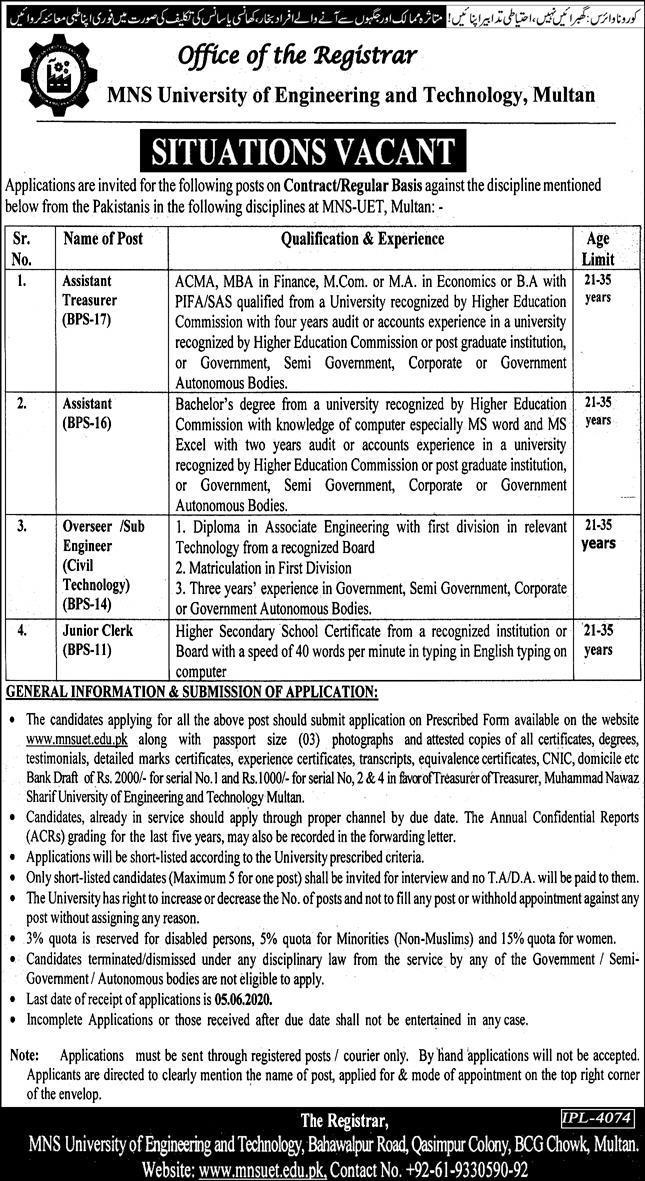 MNS University of Engineering and Technology Multan Jobs