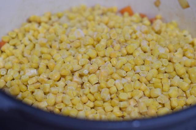 The frozen corn in the pot!