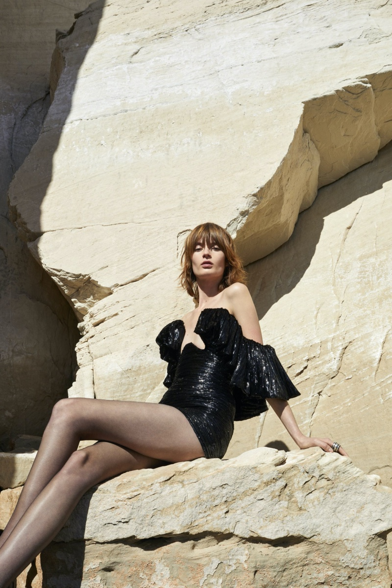 Model Elise van Iterson appears in Saint Laurent summer 2020 campaign
