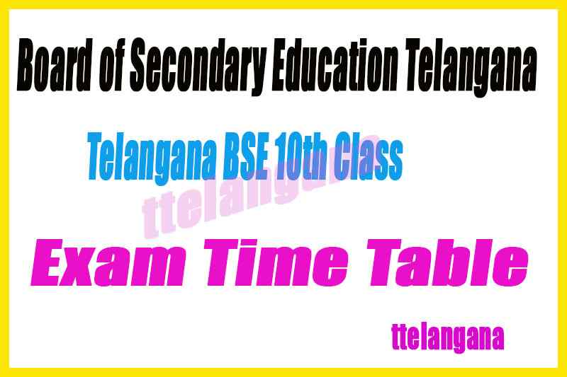 BSE Board of Secondary Education Telangana 10th SSC Exam Time Table