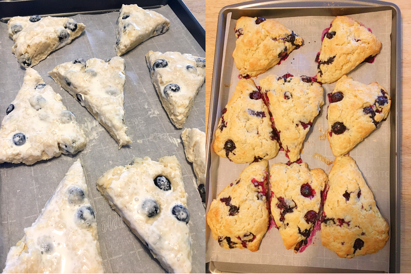 unbaked and baked Blueberry Scones