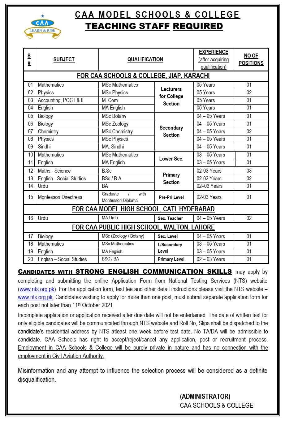 CAA Model Schools & College Hyderabad Karachi Teaching jobs 2021 via NTS