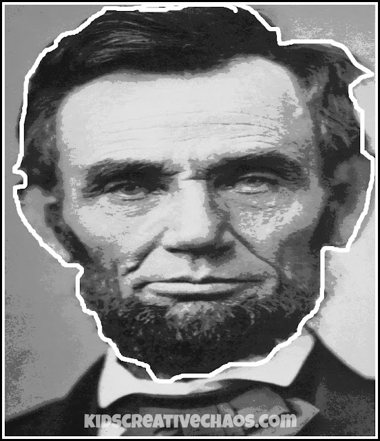 Free Abraham Lincoln Face Printable for Puppet