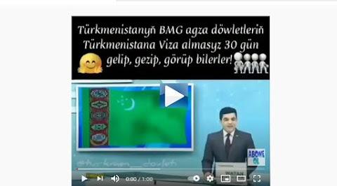 Türkmenistana gidişlerde BİRLEŞMİŞ MİLLETLER PASPORTU OLANLAR viza kalktı 30 gün vizasız durulabilir