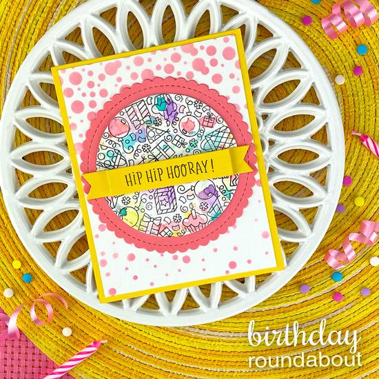 Round Birthday Card by Jennifer Jackson | Birthday Roundabout Stamp Set, Circle Frames Die Set, Banner Trio Die Set and Confetti Stencil by Newton's Nook Designs  #newtonsnook #handmade
