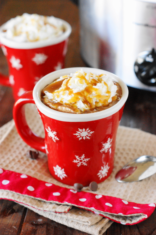 Slow Cooker Caramel Hot Chocolate | Photo Courtesy The Kitchen is My of Playground