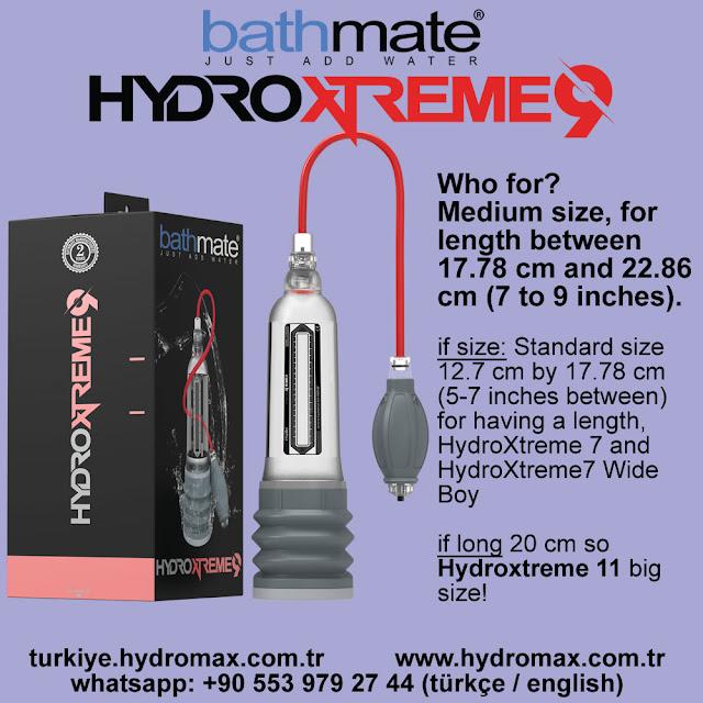 Bathmate Hydroxtreme 9 penis pump size chart. Best penis pumps from Bathmate.