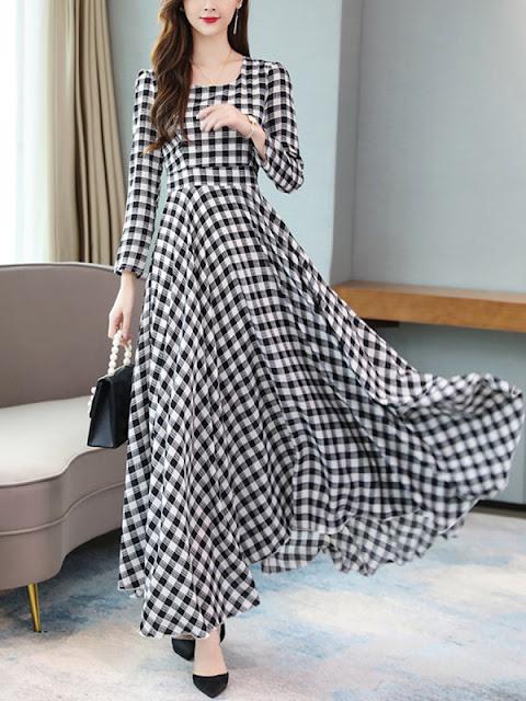 Fashion Scoop Neck Plaid Maxi Dress