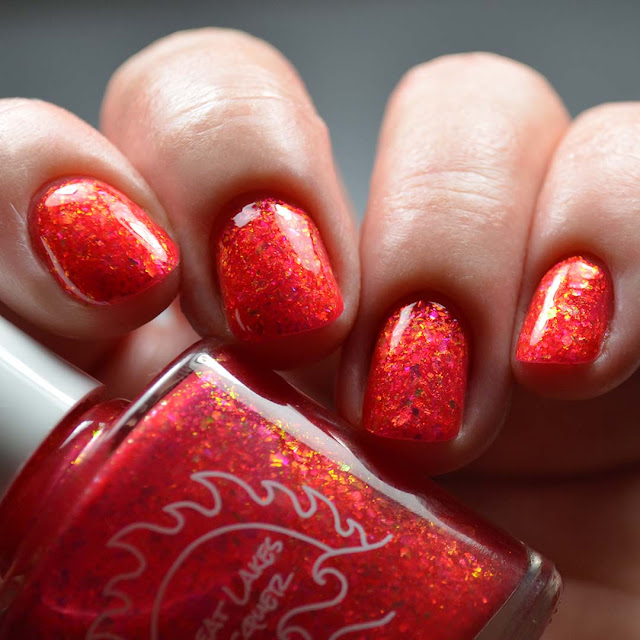 coral flakie nail polish
