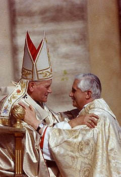 A photo of St. John Paul II with then-cardinal Ratzinger at the Vatican