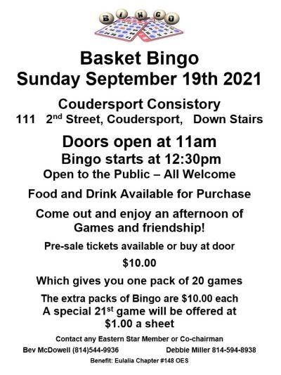 9-19 Coudersport Consistory Basket Bingo