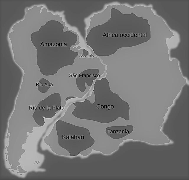 Cratón del Río de la Plata, Amazonía, Kalahari, Congo y África Occidental