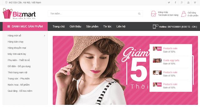Chia sẻ mẫu blogspot bán hàng Bizmart