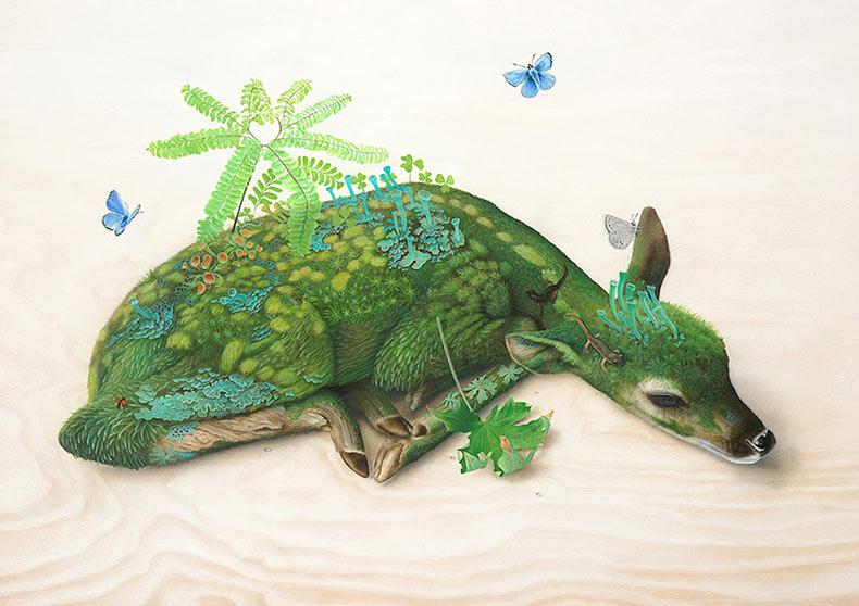 Pinturas surrealistas de la fauna de Tiffany Bozic
