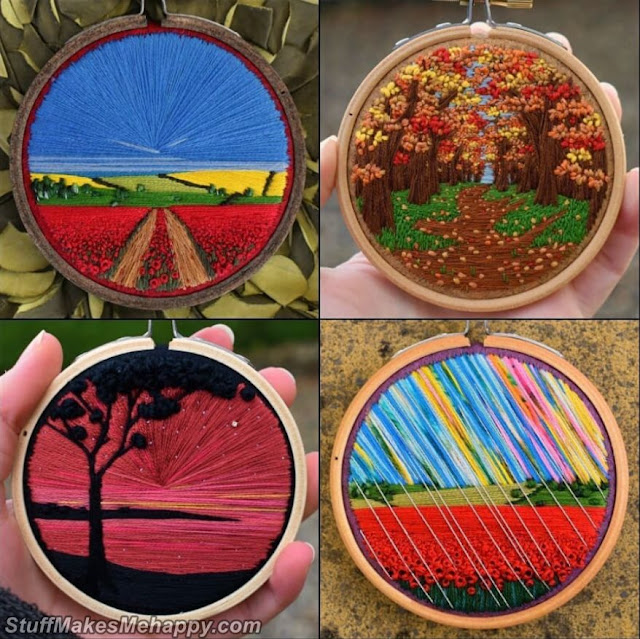 Small Landscapes Seen From the Sky, Painted With Thread