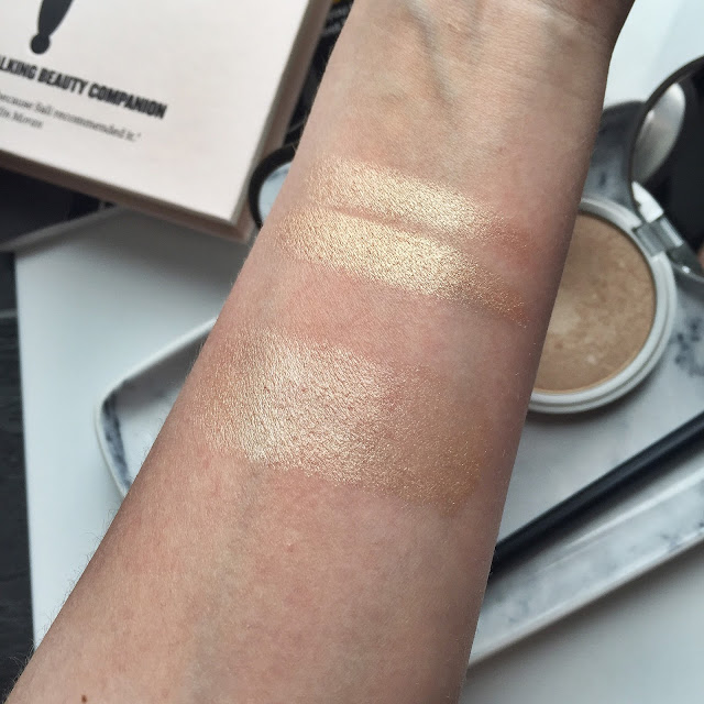 BECCA champagne pop swatch, BECCA Moonstone swatch, The Balm Mary Lou Manizer swatch