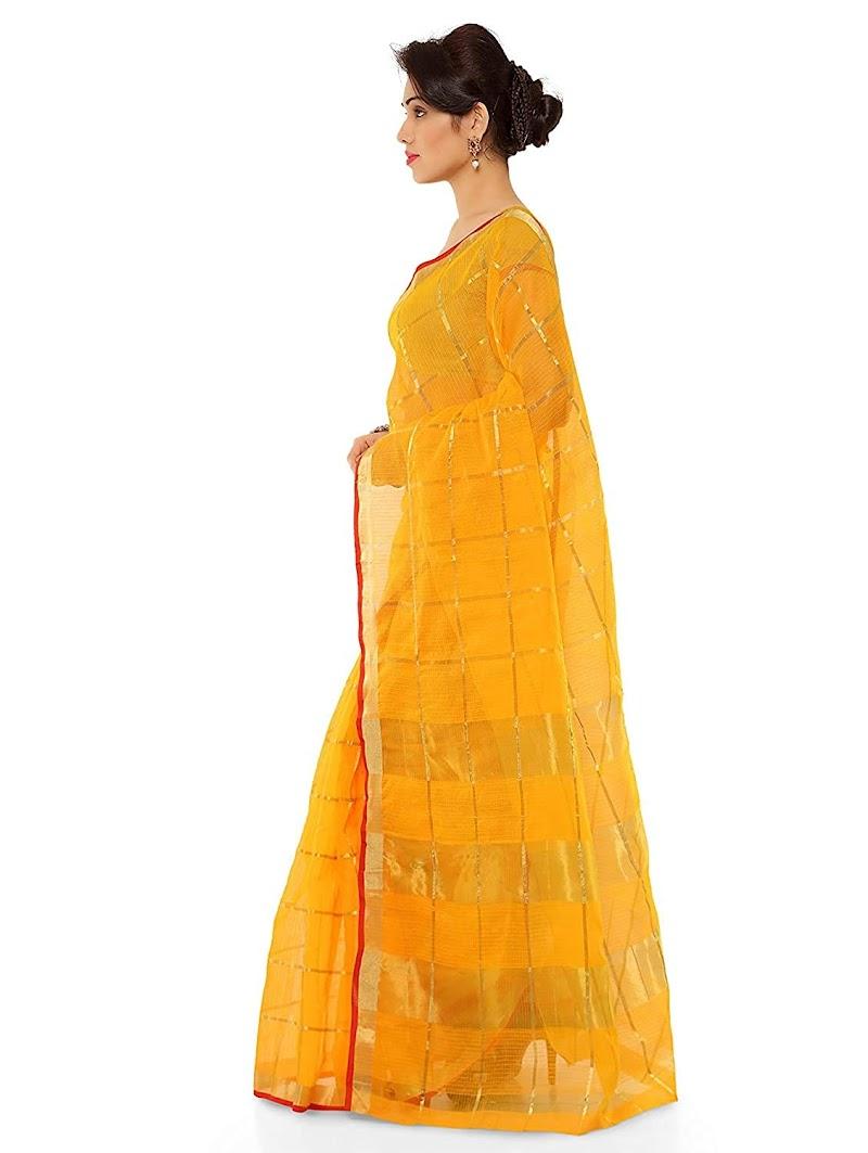 Sidhidata Textile Women's Kota Doria Cotton Saree With Blouse Piece Best offer on amazon
