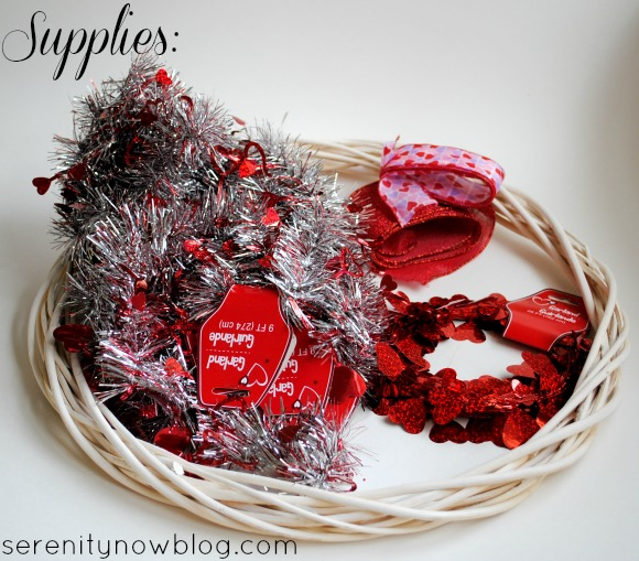 Make a Valentine's Day Wreath with a Tinsel Garland! from Serenity Now