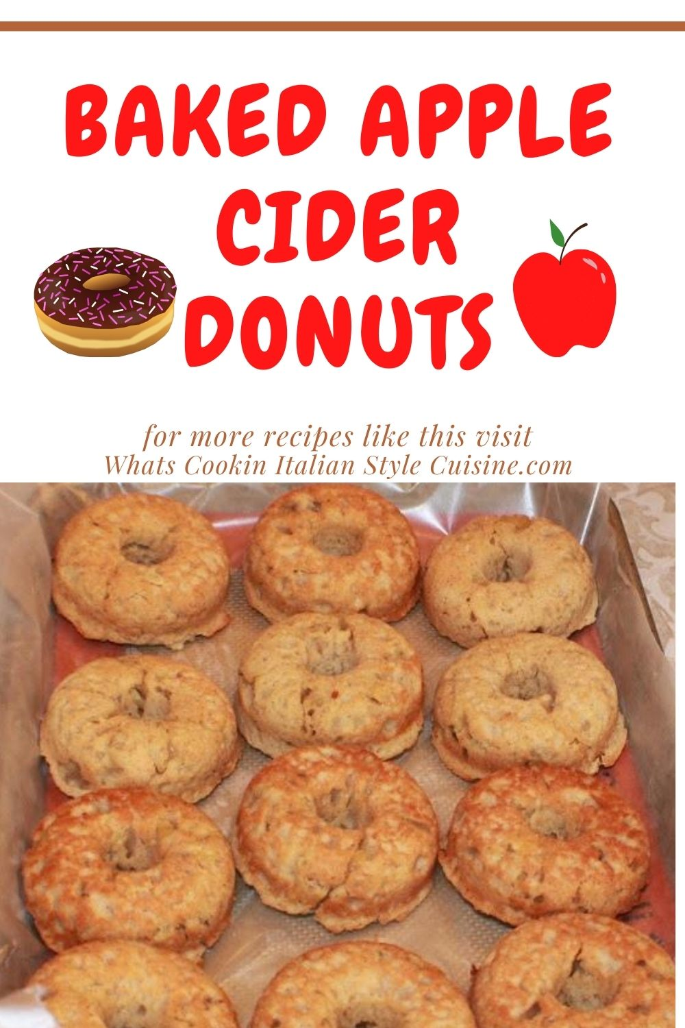 These are baked apple cider donuts plain unfrosted with apples in them and cinnamon pin for later