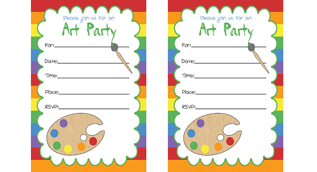 Art Party  Free Printable Invitations, Labels or Cards.