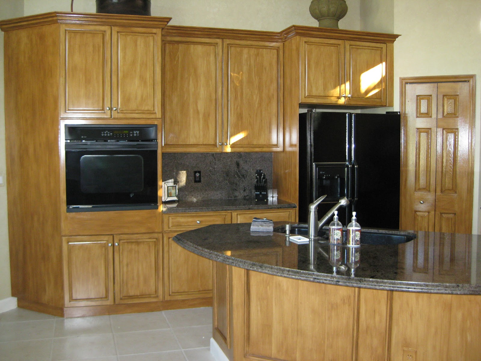 Array Of Color Inc: Faux Wood Finish Kitchen Cabinets