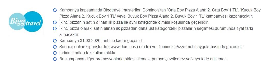 dominos pizza bigg travel kampanyası 2020