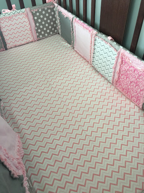 Baby Pink Chevron Crib Sheet and Crib Bumpers
