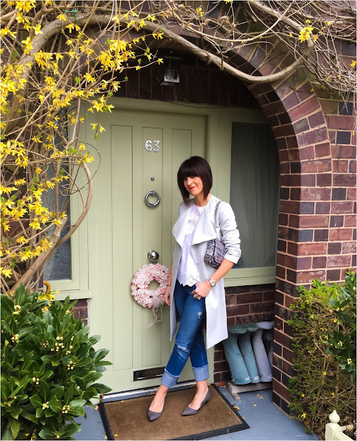 My Midlife Fashion, Great Plains Claudie Suiting Trench Coat, Zara straight leg turn up jeans, boden broderie lace top, zara tweed bag