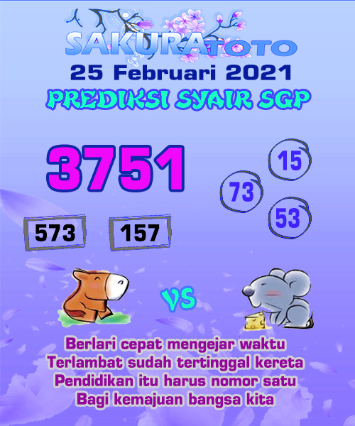 Syair Sakuratoto SGP Kamis, 25 Februari 2021