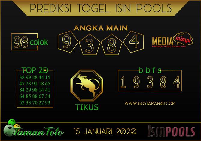 Prediksi Togel ISIN TAMAN TOTO 15 JANUARI 2020