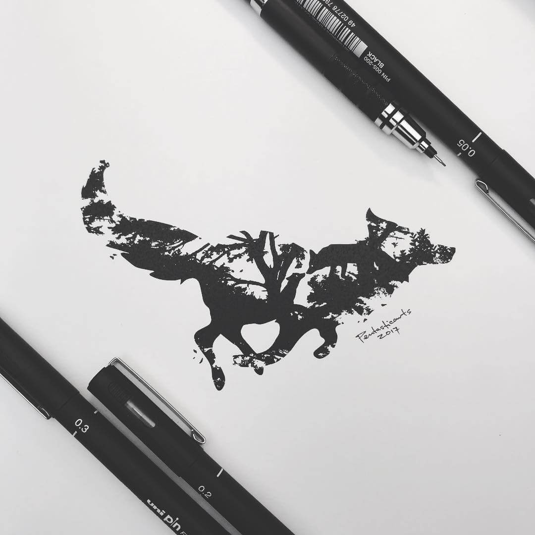 05-Wild-Silhouette-Fox-Joseph-Catimbang-Black-and-white-Ink-Graphic-Design-Art-www-designstack-co