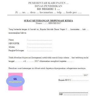 contoh surat dispensasi kerja untuk guru karena mengikuti kegiatan