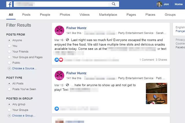 بحث عن أشخاص في مجموعات facebook عامة