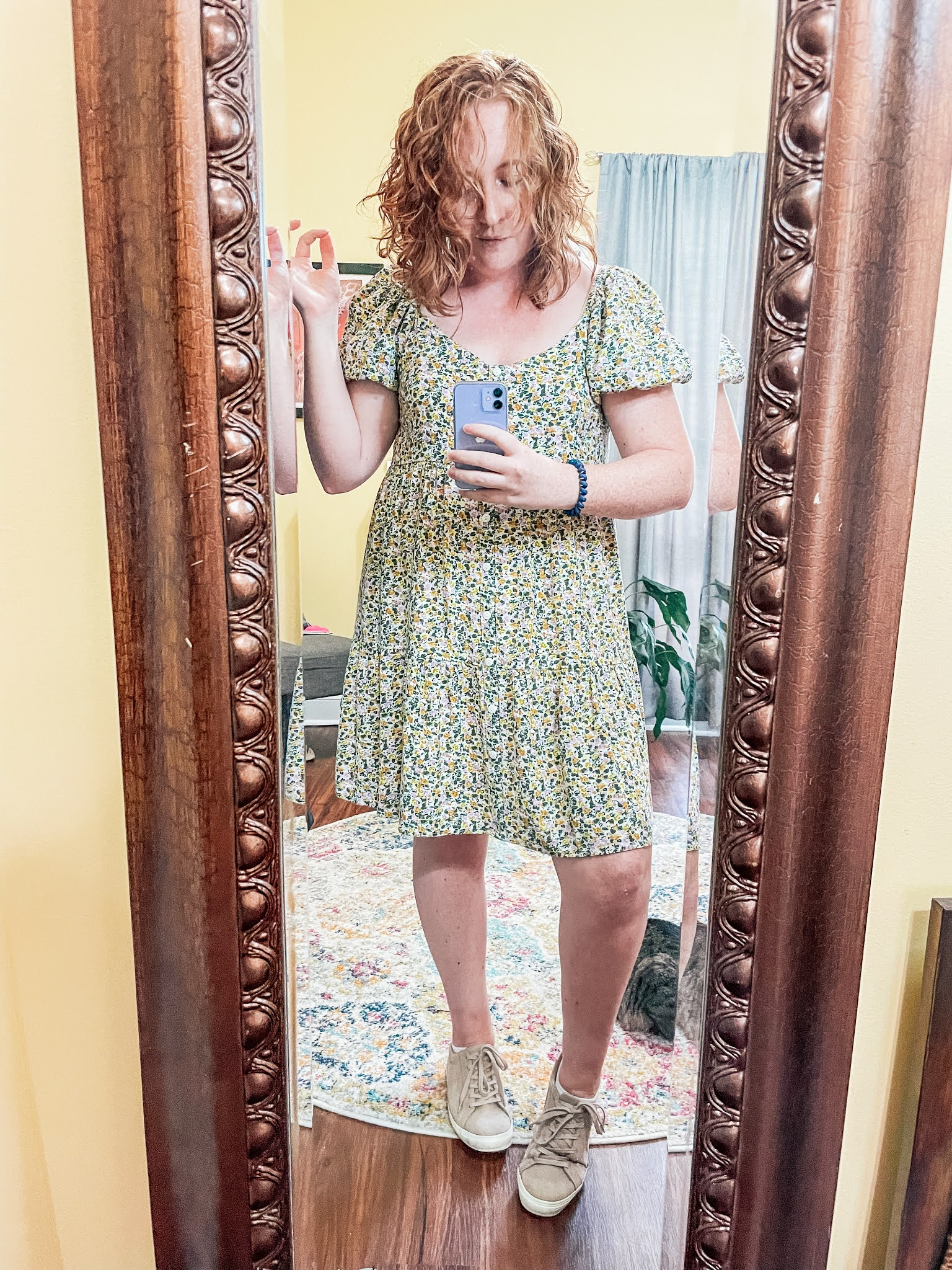 floral-puff-sleeve-dress-taupe-sneakers