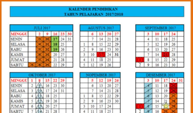 Kalender Pendidikan Terbaru Tahun 2017/2018 Lengkap