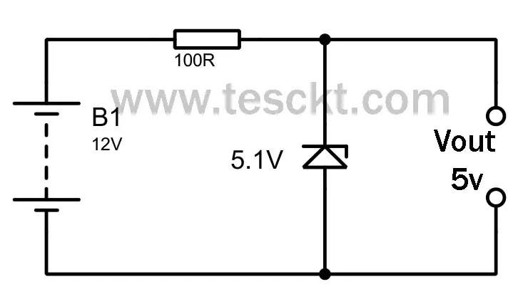 convert 12v to 5v using zener diode