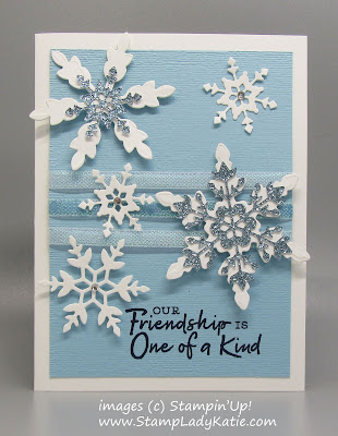 Winter Friendship card with die cut snowflakes made with Stampin'Up!'s Snowflake Wishes stamps and dies, Balmy Blue Glimmer Paper and Snowflake Splendor Iridescent Ribbon.