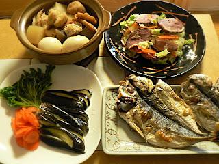 夕食の献立 焼き魚定食