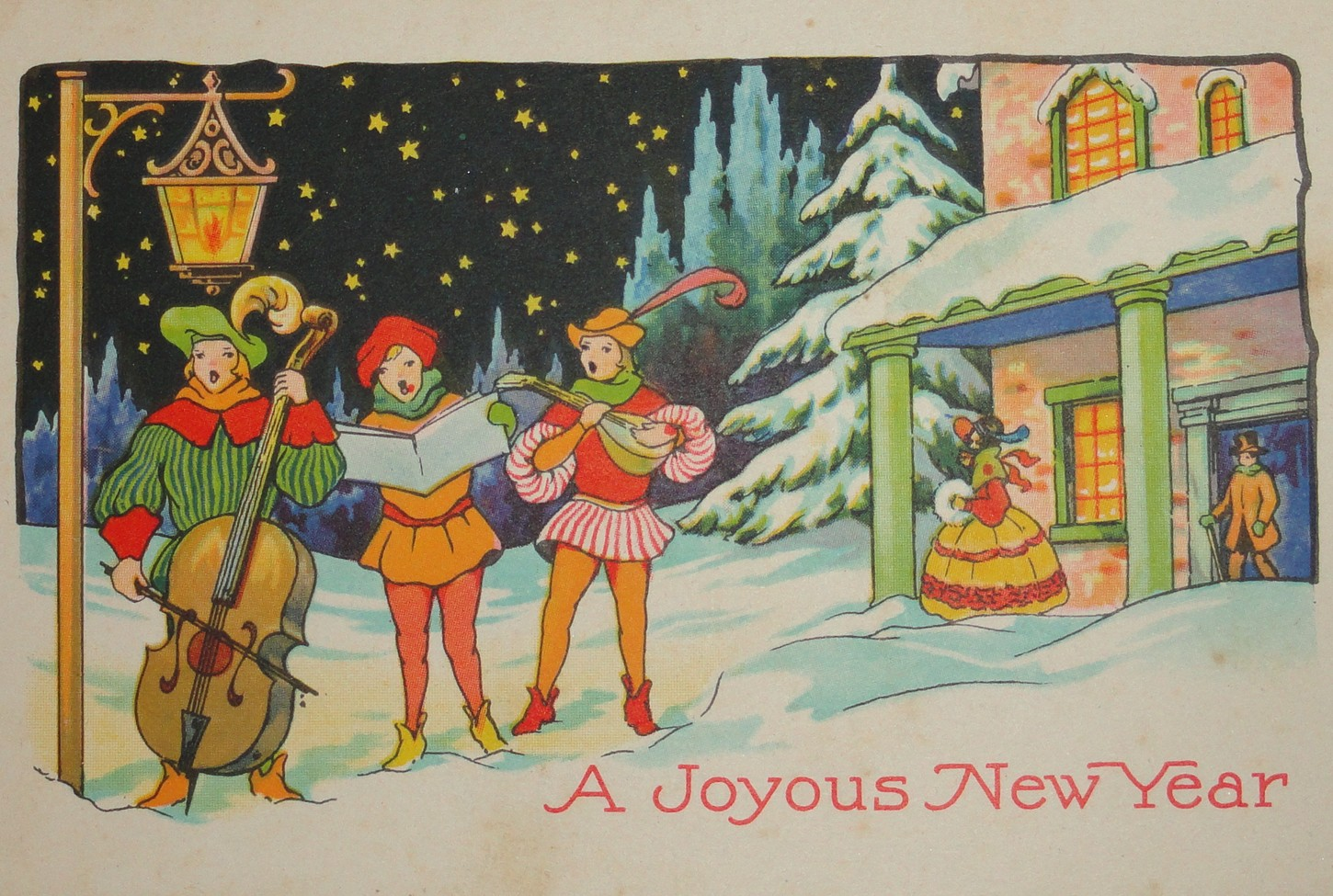 Free Clipart N Images  Free New Year Vintage Image This free vintage image features musicians singing in the New Year near a  street lamp  A building  a snow covered tree  and stars are in the  background