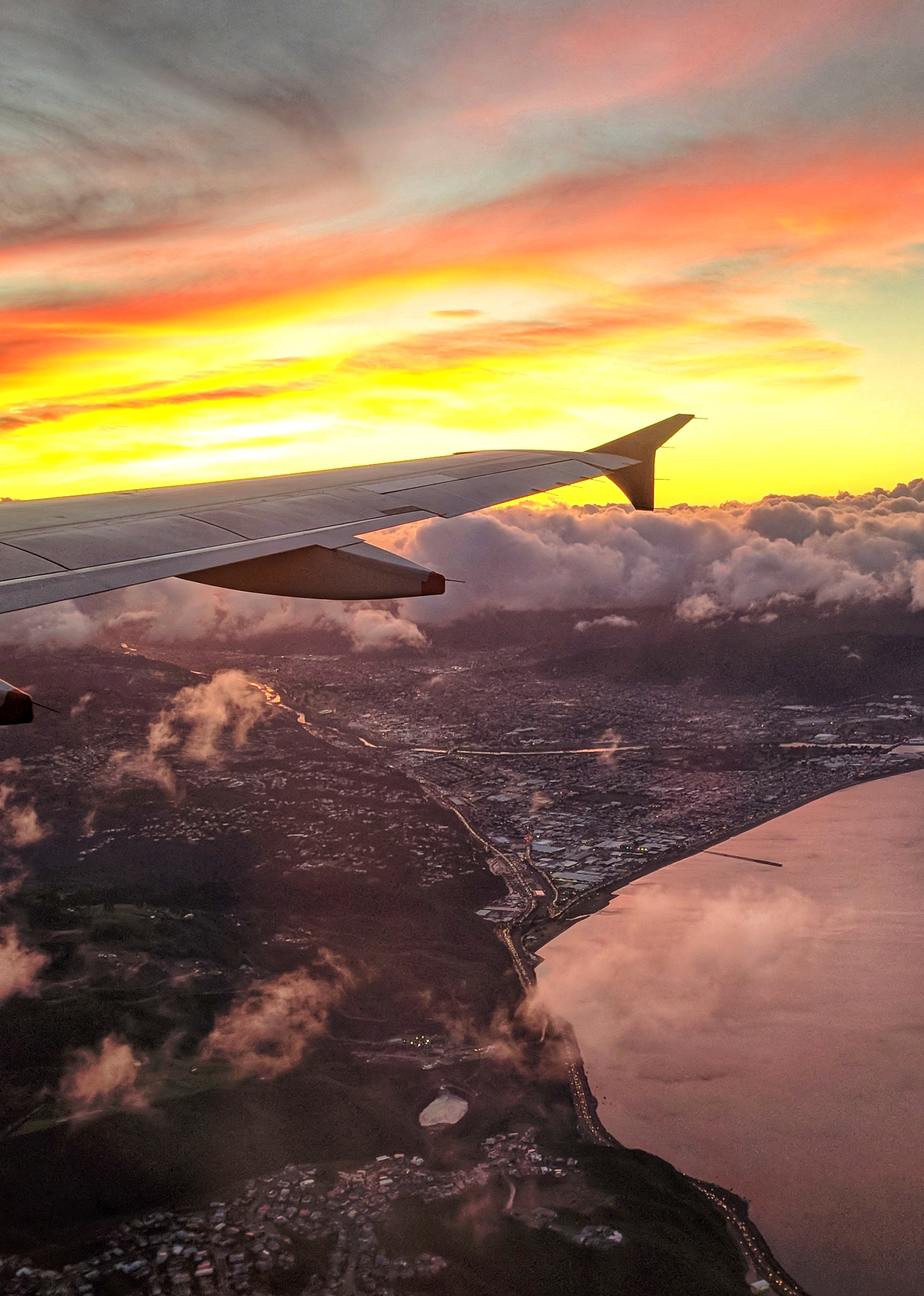 Sunrise over Hutt Valley from a plane
