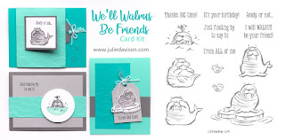 Stampin' Up! We'll Walrus Be Friends Card Kit ~ kid cards ~ 2019-2020 Annual Catalog ~ Stamp of the Month Club Card Kit ~ www.juliedavison.com