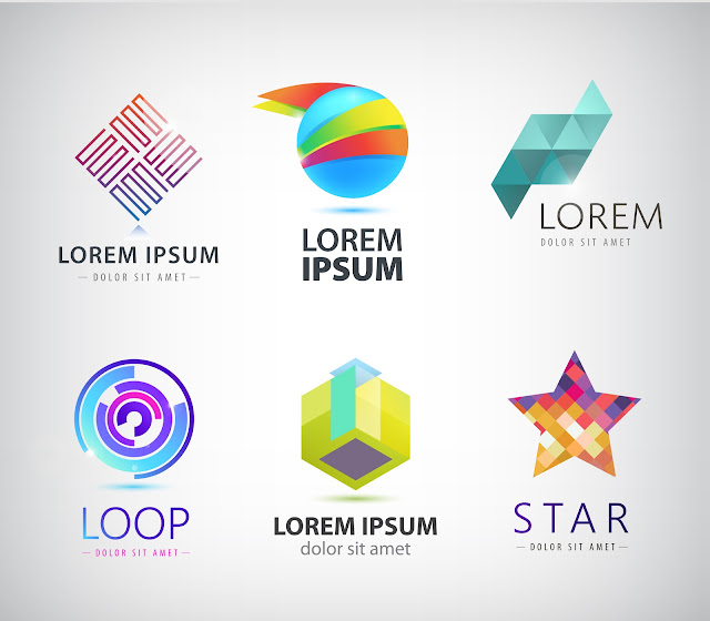 Vector Set - Set of Abstract Colorful 3d Logos 3