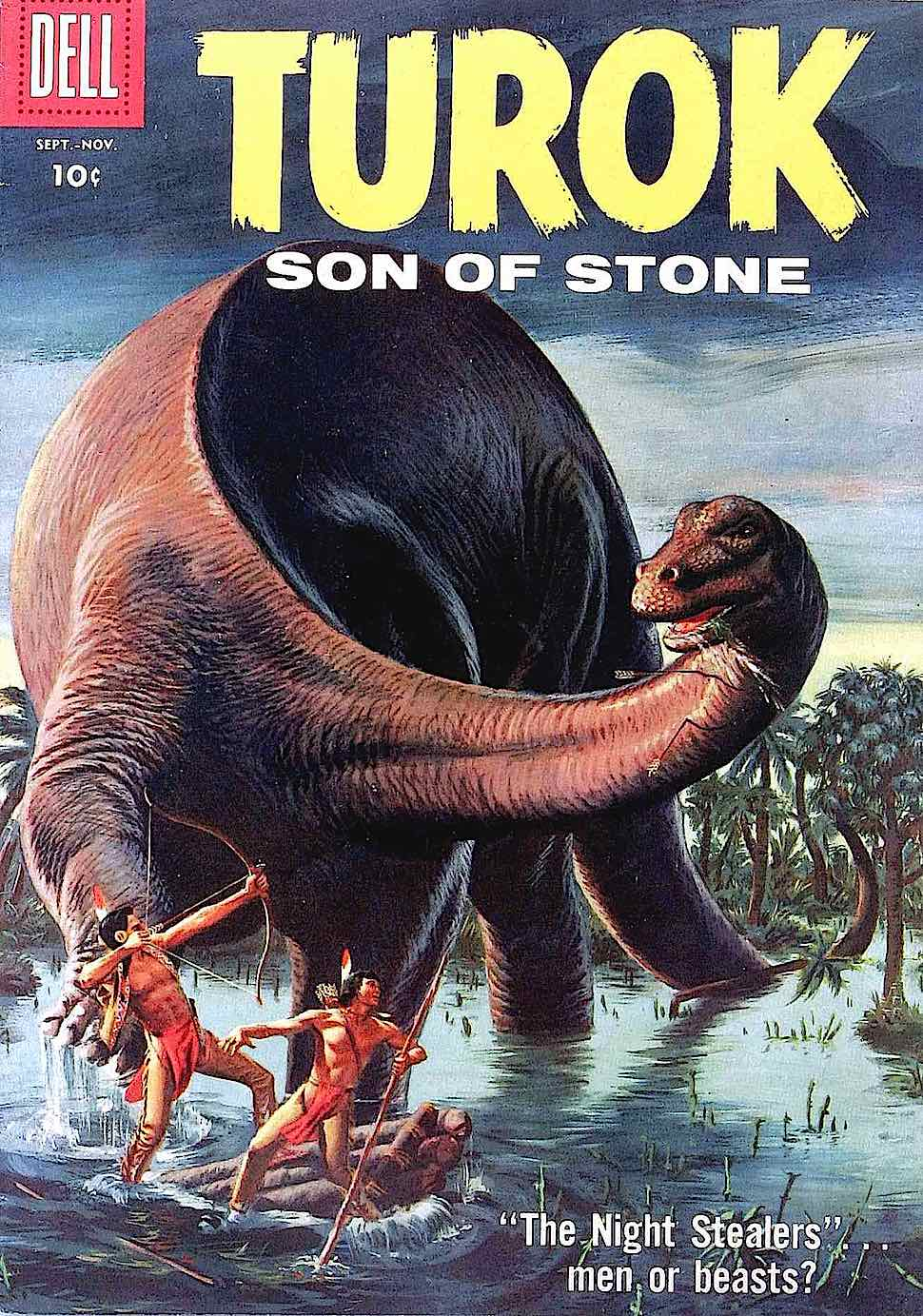 the 1950s & 1960s comic book Turok Son of Stone showing a dinosaur