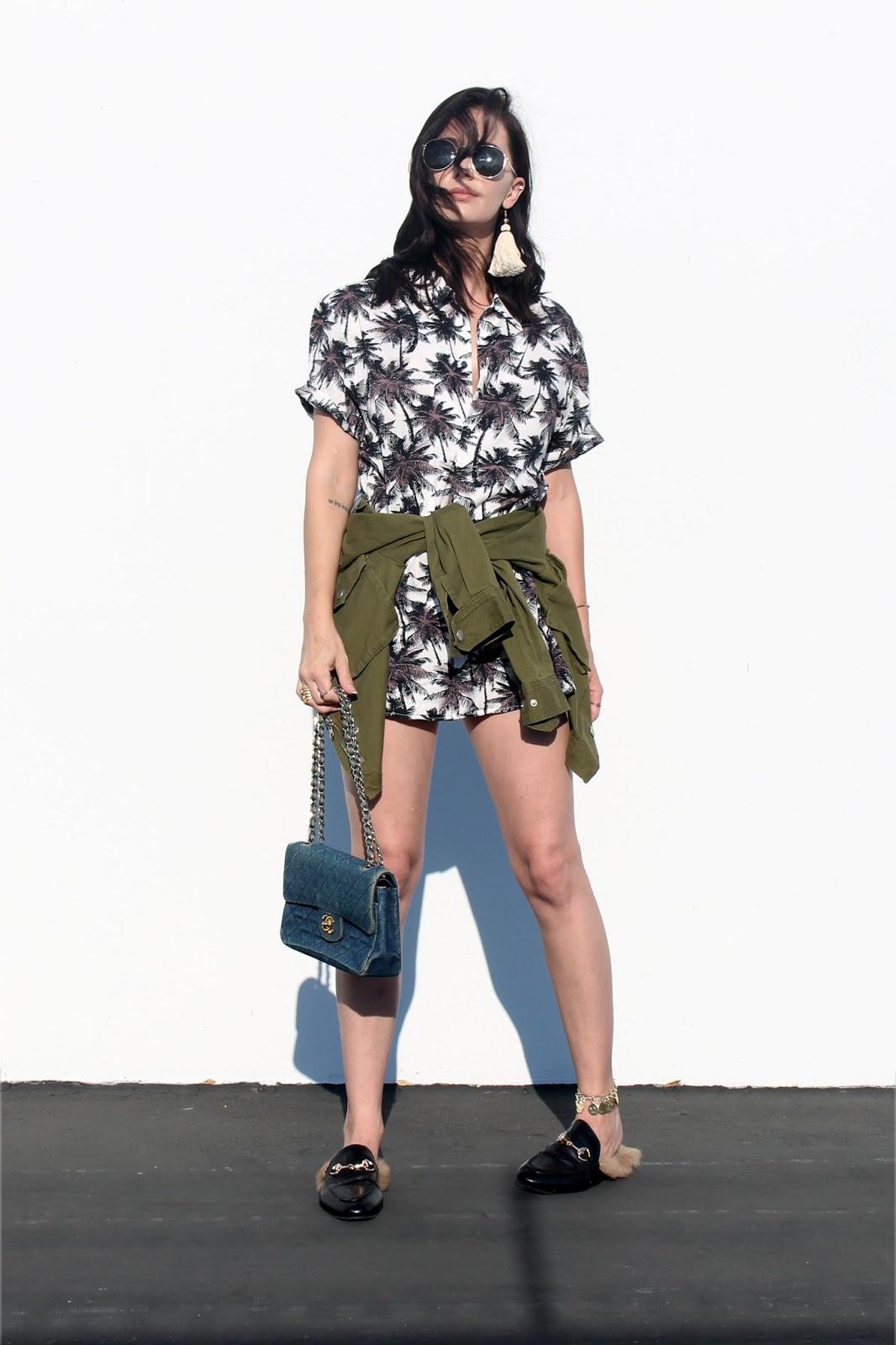 shirt dress, loafers, denim purse