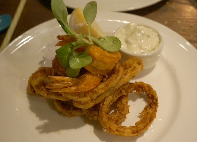 tempura calamari and squid on plate