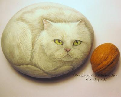 ritratti di gatti su sasso bysa